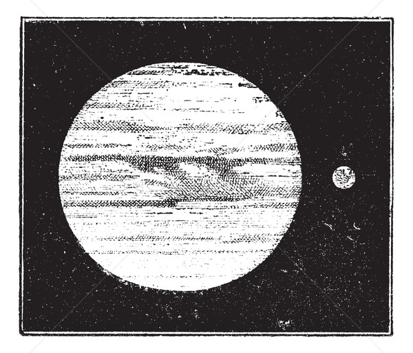 Jupiter and Earth, dimensions compared, vintage engraving. Stock photo © Morphart