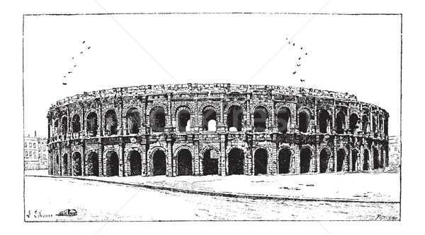Arena of Nimes, in Nimes, Languedoc-Roussillon, France, vintage  Stock photo © Morphart