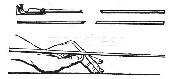 Bot kéz pozició biliárd klasszikus gravírozott Stock fotó © Morphart