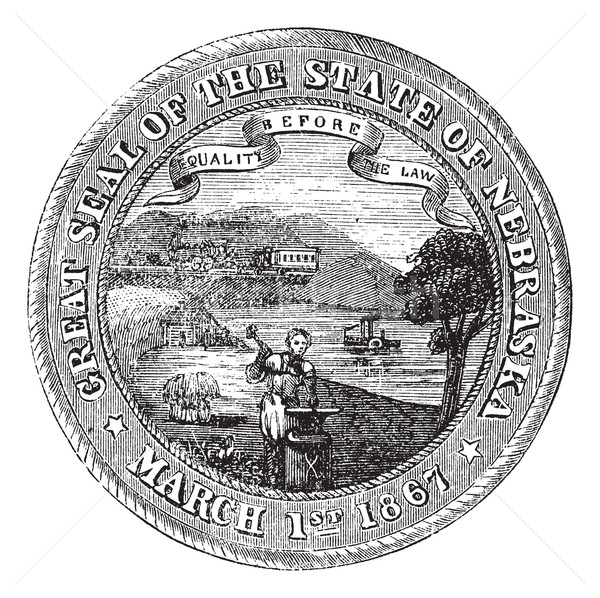Seal of the State of Nebraska, vintage engraved illustration Stock photo © Morphart