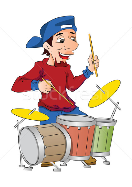 Stock photo: Man Playing Drums, illustration