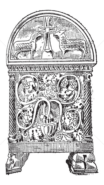 Sarcophagus of Byzantine style vintage engraving Stock photo © Morphart