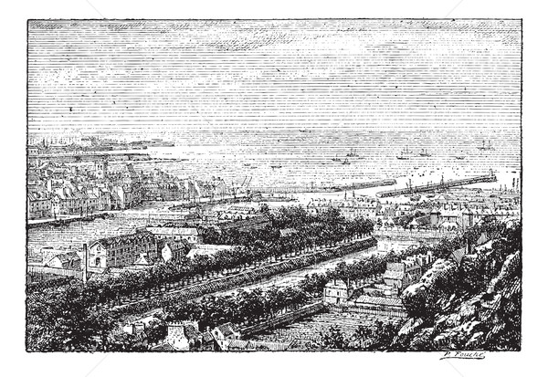 Piers of the port of Cherbourg, vintage engraving. Stock photo © Morphart
