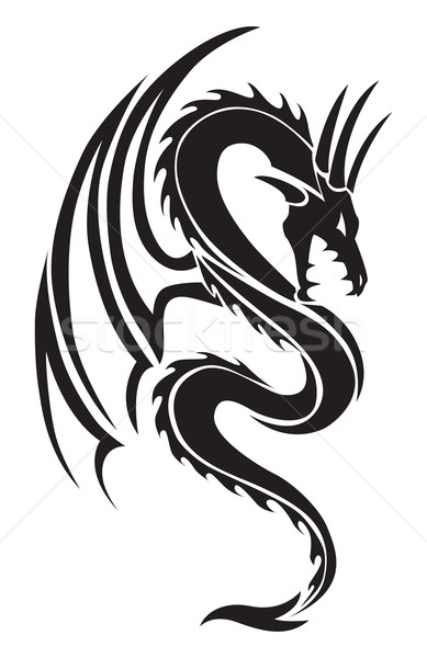 Flying dragon tattoo, vintage engraving. Stock photo © Morphart