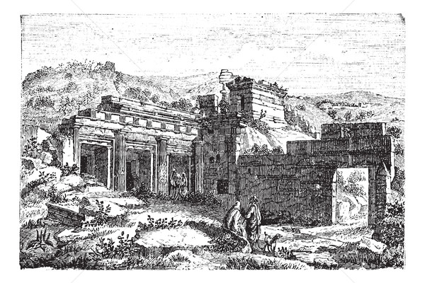 Ruins of Cyrene, in Shahhat, Libya, vintage engraving Stock photo © Morphart