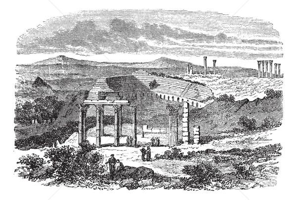 The ruins of Gerasa in Jordan vintage engraving Stock photo © Morphart