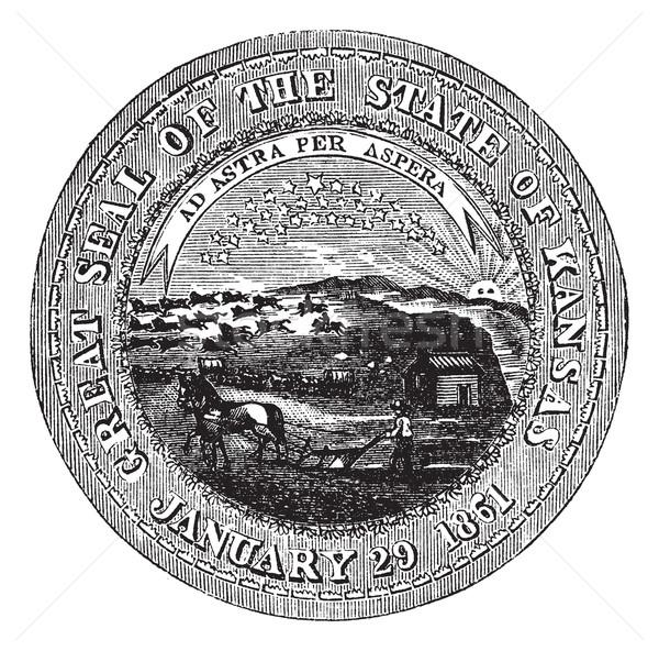 Muhteşem mühürlemek Kansas bağbozumu oyma eski Stok fotoğraf © Morphart