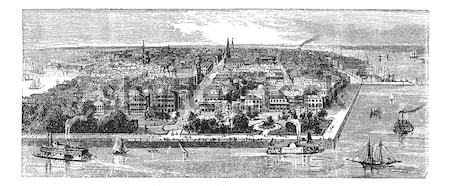 New Albany in Indiana, USA, vintage engraved illustration Stock photo © Morphart