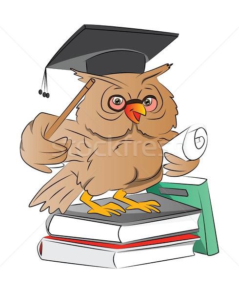 Akıllı baykuş mezun örnek kapak kitaplar Stok fotoğraf © Morphart