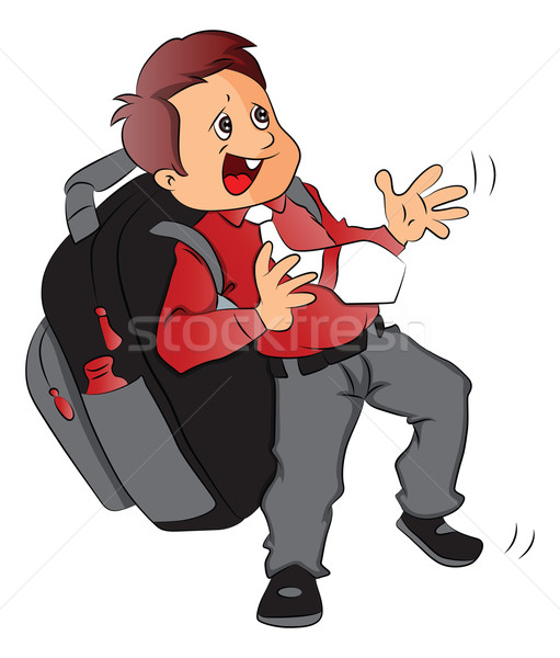 Vector of schoolboy with heavy and oversized schoolbag. Stock photo © Morphart
