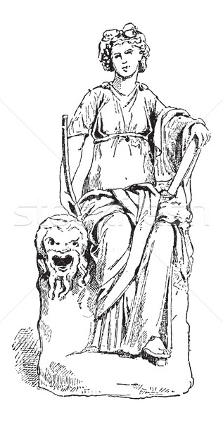 Statue of Thalia, Muse of Comedy, vintage engraving Stock photo © Morphart