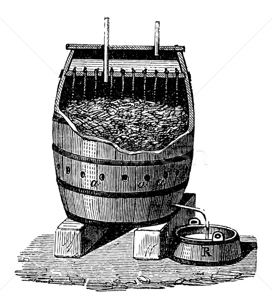 Rapid Acetification of Vinegar in a Schuzenbach Barrel, vintage  Stock photo © Morphart