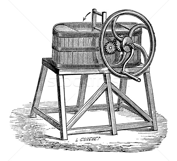 Rowan Butter Churn, vintage engraving Stock photo © Morphart