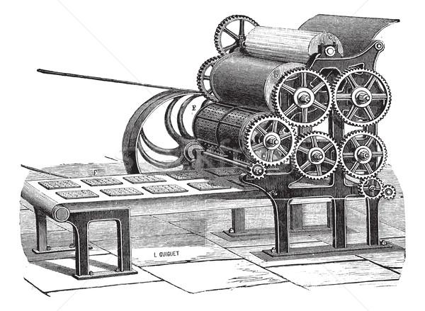 Biscuit (Hardtack) making machine vintage engraving Stock photo © Morphart