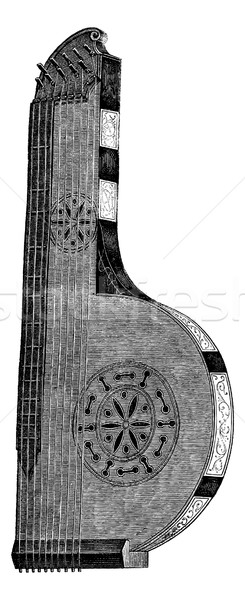 The zither-seventeenth century, vintage engraving. Stock photo © Morphart