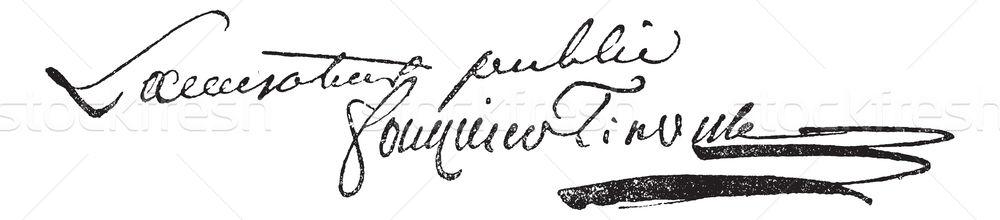 Unterzeichnung Jahrgang graviert Illustration Wörterbuch Worte Stock foto © Morphart