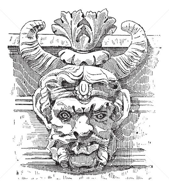 Grotesque Mask, vintage engraving Stock photo © Morphart