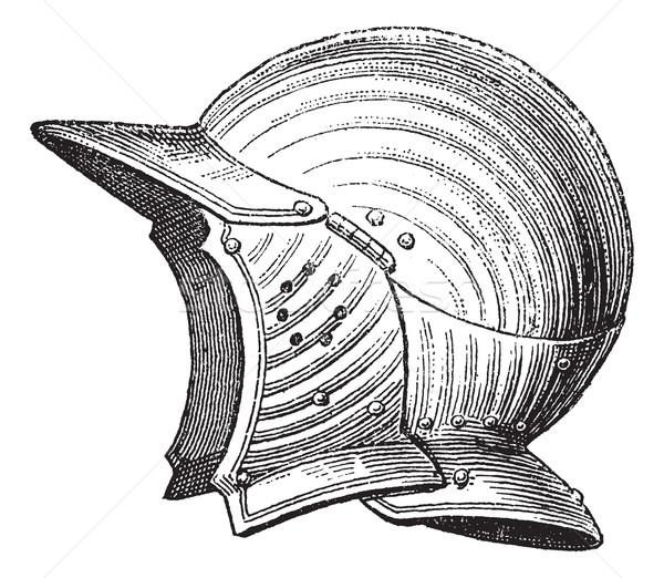Pot head or helmet vintage engraving Stock photo © Morphart