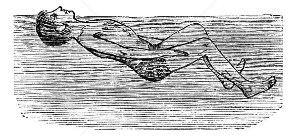 Back Float with Flutter Kick, vintage engraved illustration Stock photo © Morphart