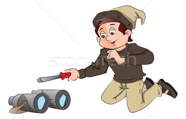 Vektor fiatal srác csavarhúzó látcső mikulás kalap Stock fotó © Morphart