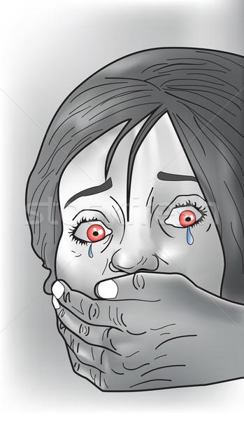 áldozat illusztráció női sír kéz befogja száját Stock fotó © Morphart