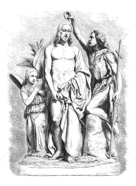 Keresztség Jézus Krisztus klasszikus vésés márvány Stock fotó © Morphart