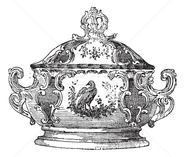 Tureen, a serving dish for food, vintage engraving. Stock photo © Morphart