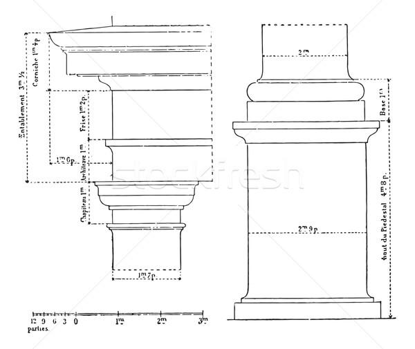Toscano ordem vintage gravado ilustração Foto stock © Morphart