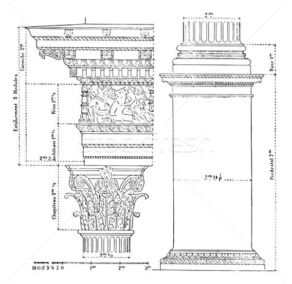 Corinthian order, vintage engraving. Stock photo © Morphart