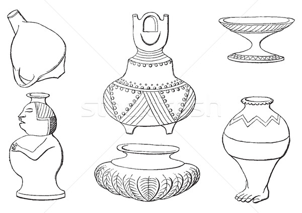 Indian antiquities, Objects in the ground, vintage engraving. Stock photo © Morphart