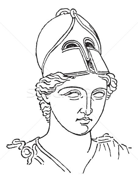 Greek Centurion brush helmet or galea vintage engraving Stock photo © Morphart