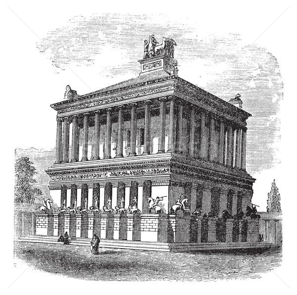 Stockfoto: Mausoleum · graf · vintage · oude · gegraveerd
