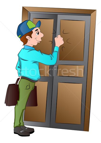 продавцом двери иллюстрация бизнеса человека бизнесмен Сток-фото © Morphart