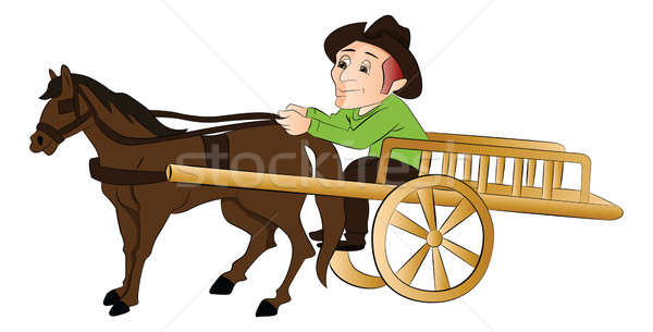 Vector of man traveling in a horse drawn cart. Stock photo © Morphart