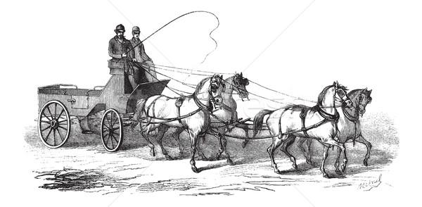 4-wheeled Wagon drawn by 4 Horses, vintage engraving Stock photo © Morphart