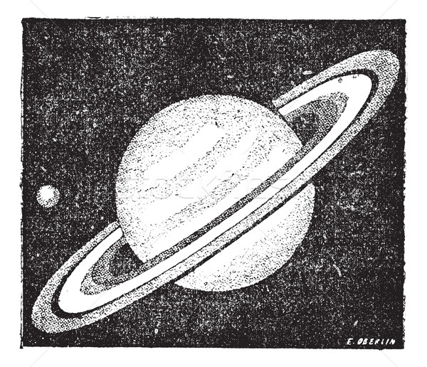 Comparison of the sizes of Saturn and Earth vintage engraving Stock photo © Morphart