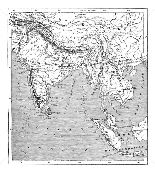 Map of India and Indochina vintage engraving Stock photo © Morphart