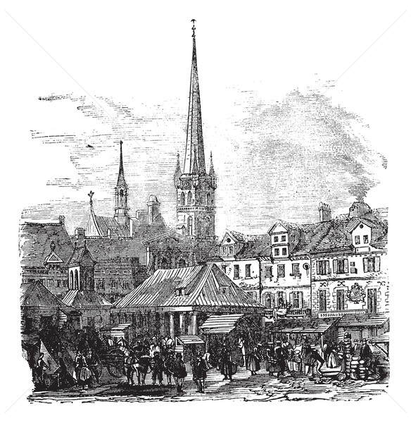 Market Place of Lubeck Germany vintage engraving Stock photo © Morphart