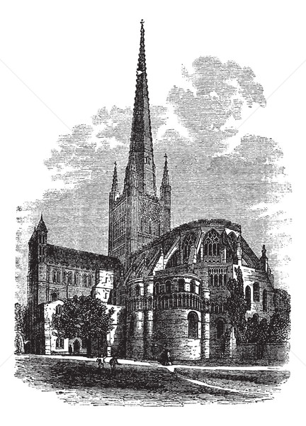 Norwich Cathedral in Norfolk, England, UK, vintage engraved illu Stock photo © Morphart