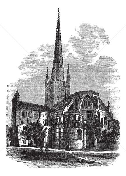 Cattedrale norfolk Inghilterra vintage inciso illustrazione Foto d'archivio © Morphart