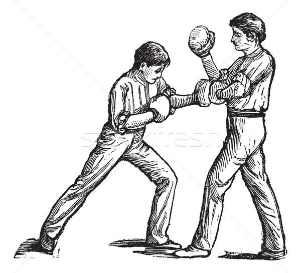Kettő boxeralsó harcol klasszikus vésés öreg Stock fotó © Morphart