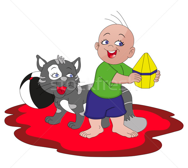 Vector of boy playing with cat. Stock photo © Morphart