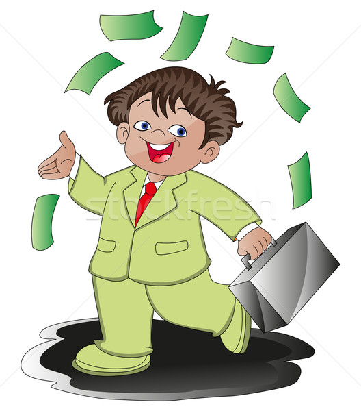 Vector of happy businessman carrying moneybag. Stock photo © Morphart