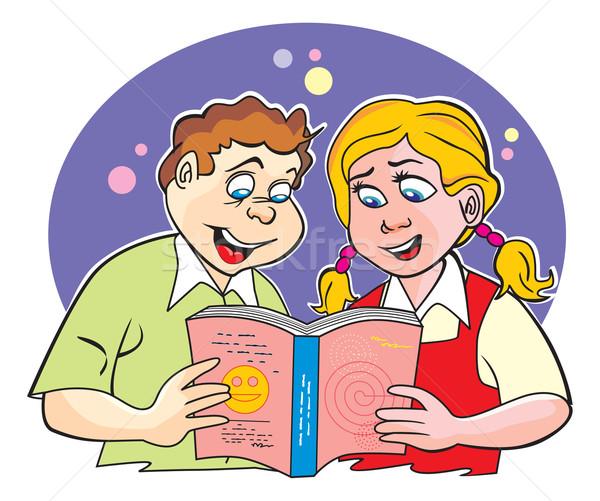 детей изучения иллюстрация мальчика девушки вместе Сток-фото © Morphart