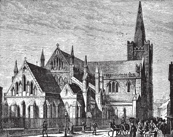 Kathedraal vintage gegraveerd illustratie tijdschrift Stockfoto © Morphart