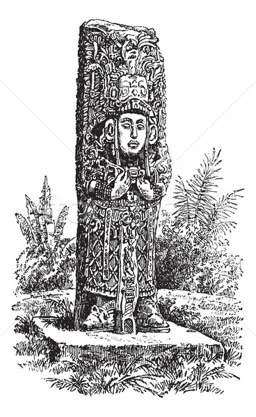 Copan Monolith in Honduras, vintage engraving Stock photo © Morphart