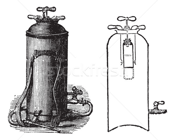 Fire Extinguisher, vintage engraved illustration Stock photo © Morphart