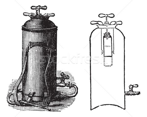 Vintage inciso illustrazione enciclopedia fuoco Foto d'archivio © Morphart