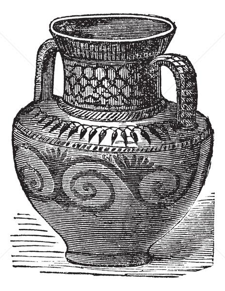 Stock fotó: Váza · klasszikus · vésés · öreg · gravírozott · illusztráció