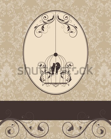 Brown vintage invitation card with birdcage  Stock photo © Morphart